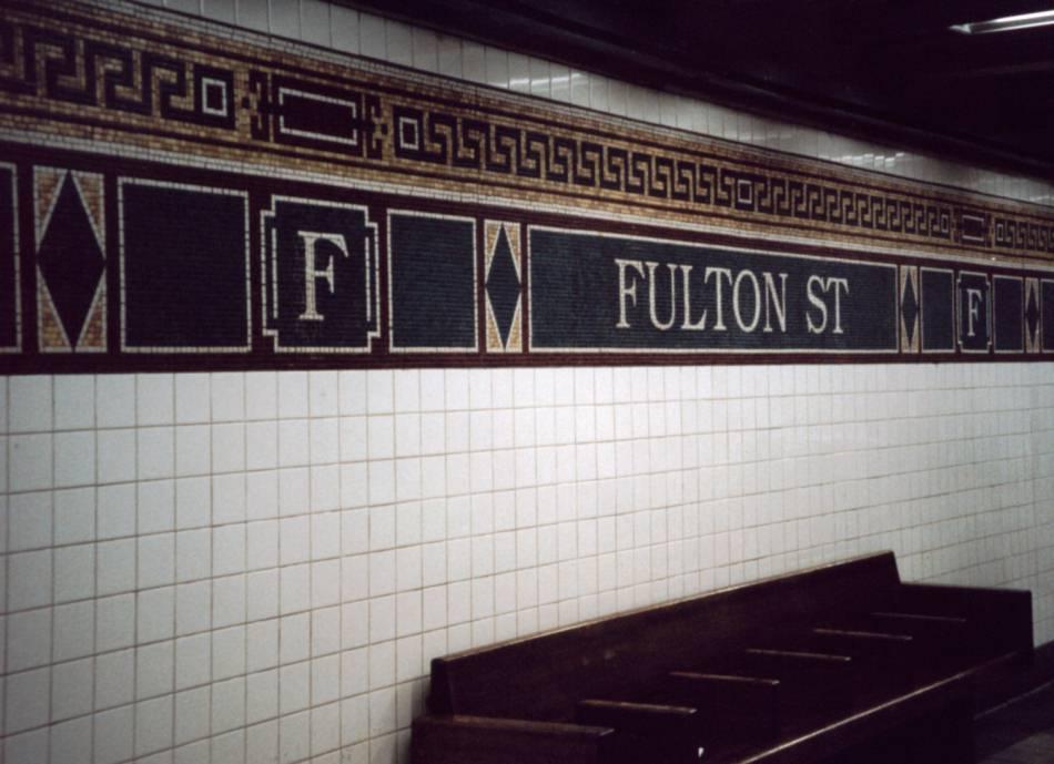 (68k, 950x689)<br><b>Country:</b> United States<br><b>City:</b> New York<br><b>System:</b> New York City Transit<br><b>Line:</b> BMT Nassau Street/Jamaica Line<br><b>Location:</b> Fulton Street <br><b>Photo by:</b> David of Broadway<br><b>Date:</b> 9/23/2001<br><b>Viewed (this week/total):</b> 2 / 2957