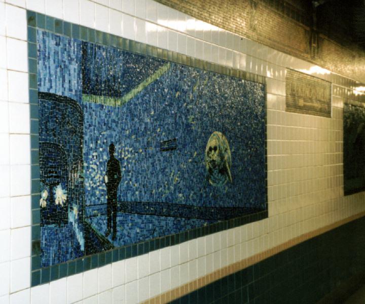 (68k, 720x600)<br><b>Country:</b> United States<br><b>City:</b> New York<br><b>System:</b> New York City Transit<br><b>Line:</b> IRT West Side Line<br><b>Location:</b> Houston Street <br><b>Photo by:</b> David of Broadway<br><b>Date:</b> 1/6/2002<br><b>Artwork:</b> <i>Platform Diving</i>, Deborah Brown (1994).<br><b>Viewed (this week/total):</b> 4 / 4047