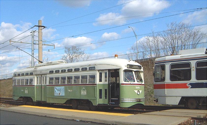 (112k, 841x509)<br><b>Country:</b> United States<br><b>City:</b> Philadelphia, PA<br><b>System:</b> SEPTA (or Predecessor)<br><b>Line:</b> Rt. 36-Eastwick<br><b>Location:</b> Eastwick Loop (Island/80th) <br><b>Car:</b> PTC/SEPTA Postwar All-electric PCC (St.Louis, 1948)  2168 <br><b>Photo by:</b> Bob Vogel<br><b>Date:</b> 12/20/2001<br><b>Viewed (this week/total):</b> 1 / 2078