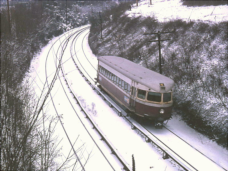 (165k, 800x598)<br><b>Country:</b> United States<br><b>City:</b> Philadelphia, PA<br><b>System:</b> SEPTA (or Predecessor)<br><b>Line:</b> 100-Norristown<br><b>Location:</b> Radnor <br><b>Car:</b> PSTC/SEPTA Bullet (J.G. Brill Co., 1931-1934)  204 <br><b>Photo by:</b> Bob Vogel<br><b>Date:</b> 1/5/1975<br><b>Viewed (this week/total):</b> 0 / 3233