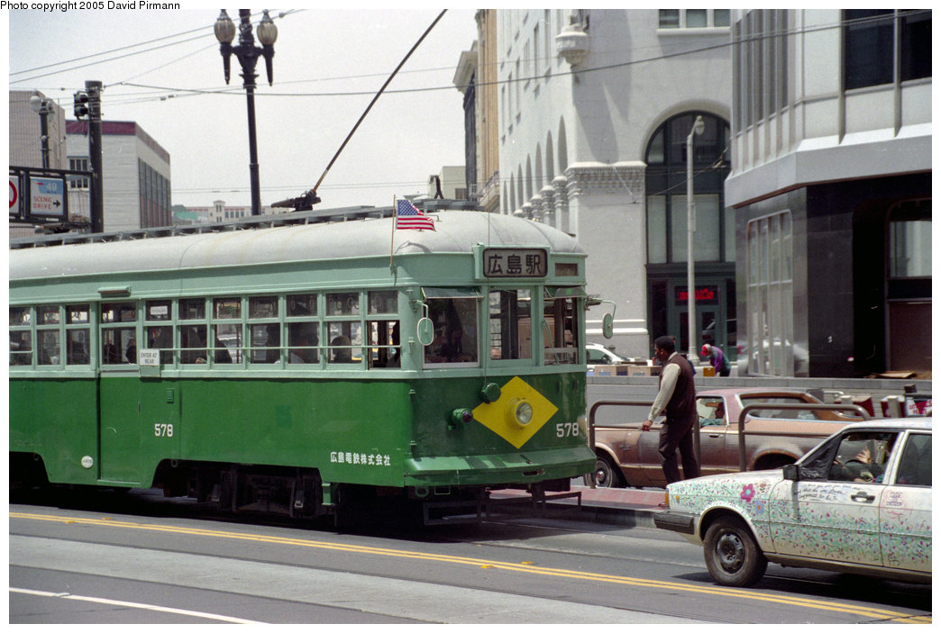 (217k, 1044x703)<br><b>Country:</b> United States<br><b>City:</b> San Francisco/Bay Area, CA<br><b>System:</b> SF MUNI<br><b>Location:</b> Market/Van Ness <br><b>Car:</b> SF MUNI Kobe/Hiroshima Tram 578J <br><b>Photo by:</b> David Pirmann<br><b>Date:</b> 7/8/1996<br><b>Viewed (this week/total):</b> 4 / 2615