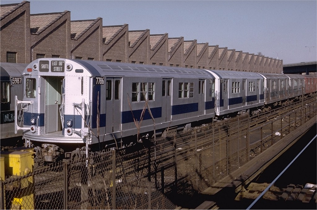 (241k, 1024x677)<br><b>Country:</b> United States<br><b>City:</b> New York<br><b>System:</b> New York City Transit<br><b>Location:</b> East 180th Street Yard<br><b>Car:</b> R-26 (American Car & Foundry, 1959-60) 7786 <br><b>Photo by:</b> Doug Grotjahn<br><b>Collection of:</b> Joe Testagrose<br><b>Date:</b> 11/19/1972<br><b>Viewed (this week/total):</b> 3 / 3336