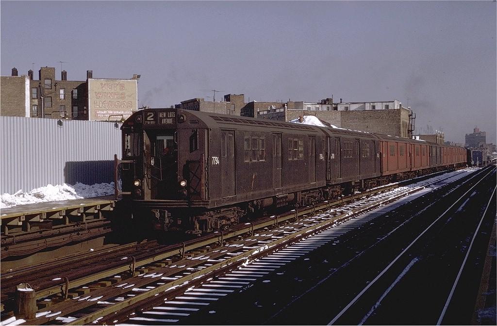 (220k, 1024x672)<br><b>Country:</b> United States<br><b>City:</b> New York<br><b>System:</b> New York City Transit<br><b>Line:</b> IRT White Plains Road Line<br><b>Location:</b> Prospect Avenue <br><b>Route:</b> 2<br><b>Car:</b> R-26 (American Car & Foundry, 1959-60) 7794 <br><b>Photo by:</b> Joe Testagrose<br><b>Date:</b> 1/2/1971<br><b>Viewed (this week/total):</b> 2 / 3137