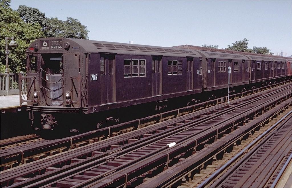 (252k, 1024x660)<br><b>Country:</b> United States<br><b>City:</b> New York<br><b>System:</b> New York City Transit<br><b>Line:</b> IRT Pelham Line<br><b>Location:</b> Westchester Square <br><b>Route:</b> 6<br><b>Car:</b> R-26 (American Car & Foundry, 1959-60) 7817 <br><b>Photo by:</b> Doug Grotjahn<br><b>Collection of:</b> Joe Testagrose<br><b>Date:</b> 8/14/1971<br><b>Viewed (this week/total):</b> 2 / 3251