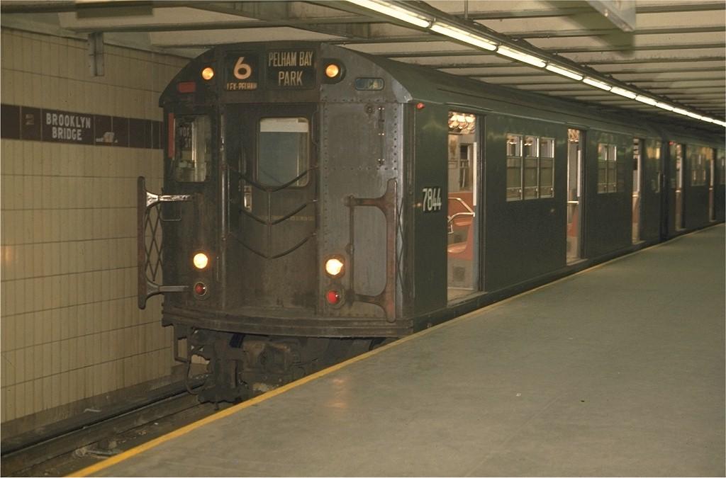 (145k, 1024x675)<br><b>Country:</b> United States<br><b>City:</b> New York<br><b>System:</b> New York City Transit<br><b>Line:</b> IRT East Side Line<br><b>Location:</b> Brooklyn Bridge/City Hall <br><b>Route:</b> 6<br><b>Car:</b> R-26 (American Car & Foundry, 1959-60) 7844 <br><b>Photo by:</b> Joe Testagrose<br><b>Date:</b> 5/21/1970<br><b>Viewed (this week/total):</b> 5 / 3671