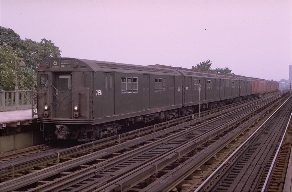 (194k, 1024x674)<br><b>Country:</b> United States<br><b>City:</b> New York<br><b>System:</b> New York City Transit<br><b>Line:</b> IRT Pelham Line<br><b>Location:</b> Westchester Square <br><b>Route:</b> 6<br><b>Car:</b> R-26 (American Car & Foundry, 1959-60) 7856 <br><b>Photo by:</b> Joe Testagrose<br><b>Date:</b> 8/1/1970<br><b>Viewed (this week/total):</b> 2 / 3401