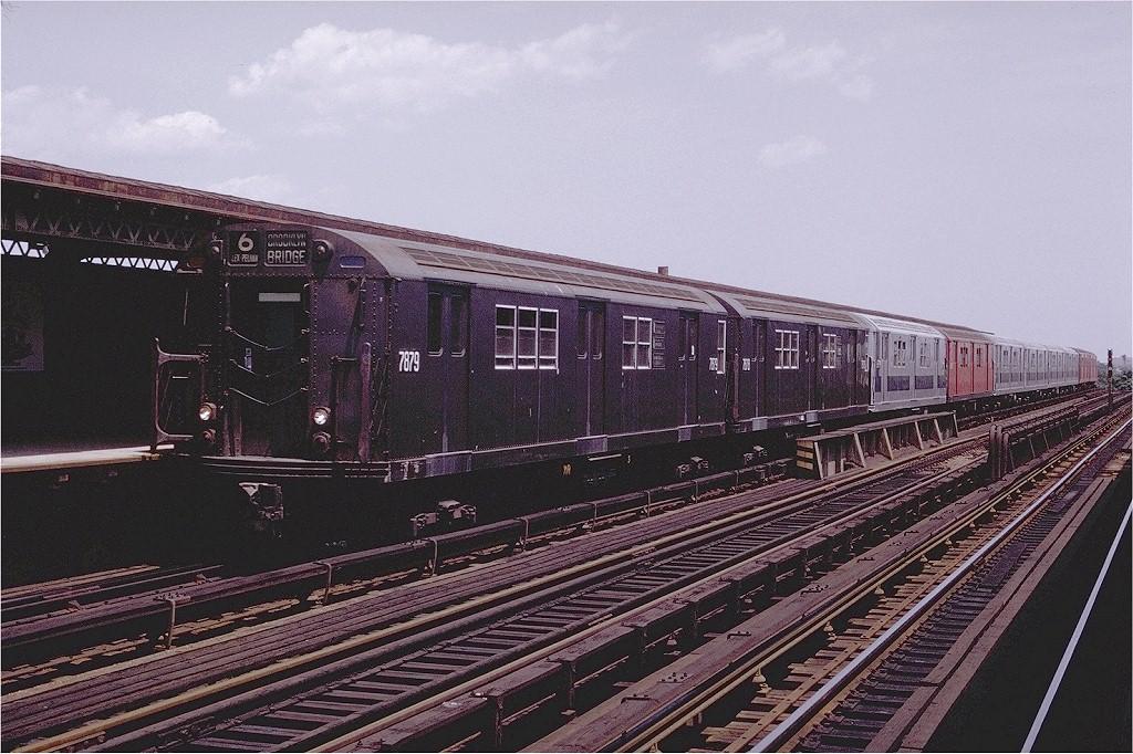 (235k, 1024x682)<br><b>Country:</b> United States<br><b>City:</b> New York<br><b>System:</b> New York City Transit<br><b>Line:</b> IRT Pelham Line<br><b>Location:</b> Castle Hill Avenue <br><b>Route:</b> 6<br><b>Car:</b> R-28 (American Car & Foundry, 1960-61) 7879 <br><b>Photo by:</b> Joe Testagrose<br><b>Date:</b> 7/12/1970<br><b>Viewed (this week/total):</b> 1 / 3330