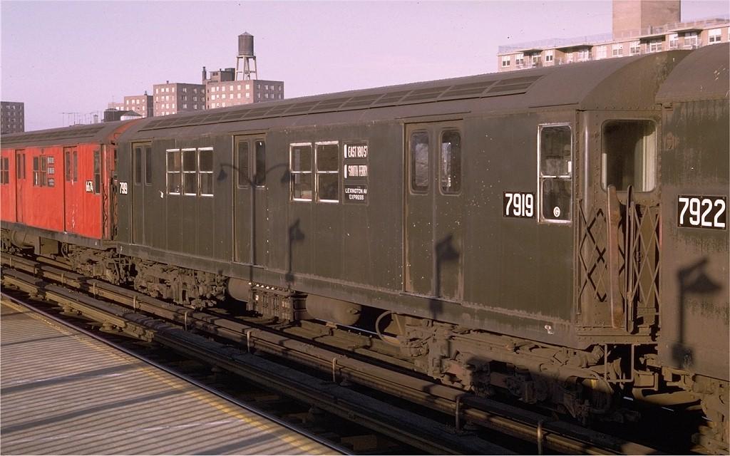 (177k, 1024x640)<br><b>Country:</b> United States<br><b>City:</b> New York<br><b>System:</b> New York City Transit<br><b>Line:</b> IRT White Plains Road Line<br><b>Location:</b> Burke Avenue <br><b>Route:</b> 5<br><b>Car:</b> R-28 (American Car & Foundry, 1960-61) 7919 <br><b>Photo by:</b> Joe Testagrose<br><b>Date:</b> 10/25/1969<br><b>Viewed (this week/total):</b> 0 / 3579