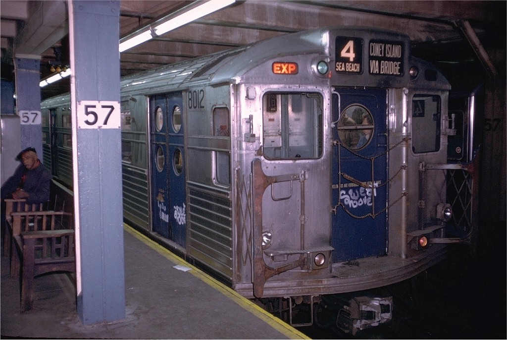 (198k, 1024x686)<br><b>Country:</b> United States<br><b>City:</b> New York<br><b>System:</b> New York City Transit<br><b>Line:</b> BMT Broadway Line<br><b>Location:</b> 57th Street <br><b>Route:</b> Fan Trip<br><b>Car:</b> R-11 (Budd, 1949) 8012 <br><b>Photo by:</b> Doug Grotjahn<br><b>Collection of:</b> Joe Testagrose<br><b>Date:</b> 10/21/1972<br><b>Viewed (this week/total):</b> 0 / 4460