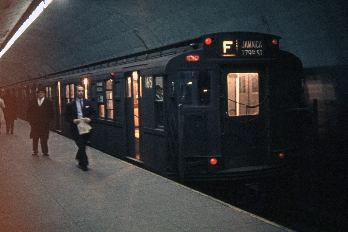 (476k, 1024x682)<br><b>Country:</b> United States<br><b>City:</b> New York<br><b>System:</b> New York City Transit<br><b>Line:</b> IND Queens Boulevard Line<br><b>Location:</b> 5th Avenue/53rd Street <br><b>Route:</b> F<br><b>Car:</b> R-1 (American Car & Foundry, 1930-1931) 165 <br><b>Collection of:</b> David Pirmann<br><b>Date:</b> 2/9/1964<br><b>Viewed (this week/total):</b> 5 / 7134