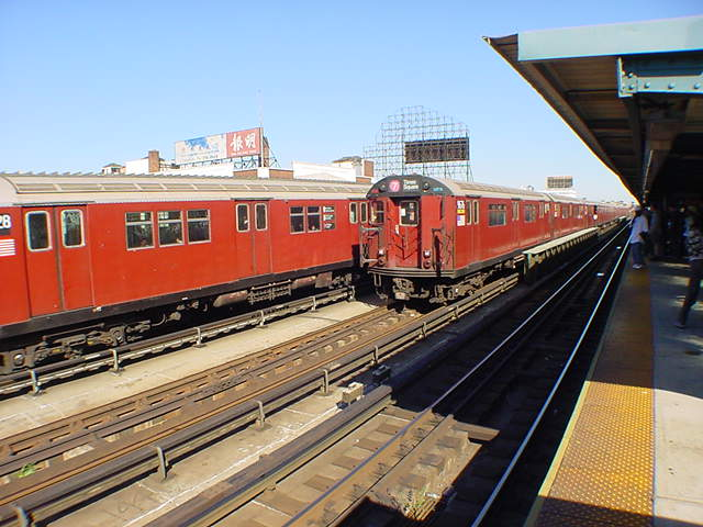 (60k, 640x480)<br><b>Country:</b> United States<br><b>City:</b> New York<br><b>System:</b> New York City Transit<br><b>Line:</b> IRT Flushing Line<br><b>Location:</b> 33rd Street/Rawson Street <br><b>Route:</b> 7<br><b>Car:</b> R-36 World's Fair (St. Louis, 1963-64) 9676 <br><b>Photo by:</b> Salaam Allah<br><b>Date:</b> 9/18/2002<br><b>Viewed (this week/total):</b> 9 / 3598