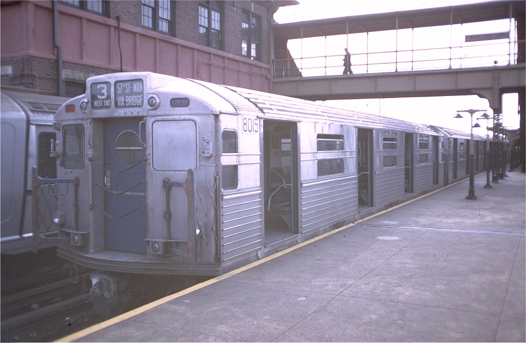 (163k, 1024x668)<br><b>Country:</b> United States<br><b>City:</b> New York<br><b>System:</b> New York City Transit<br><b>Location:</b> Coney Island/Stillwell Avenue<br><b>Route:</b> B<br><b>Car:</b> R-11 (Budd, 1949) 8015 <br><b>Photo by:</b> Doug Grotjahn<br><b>Collection of:</b> Joe Testagrose<br><b>Date:</b> 10/12/1968<br><b>Viewed (this week/total):</b> 4 / 3770