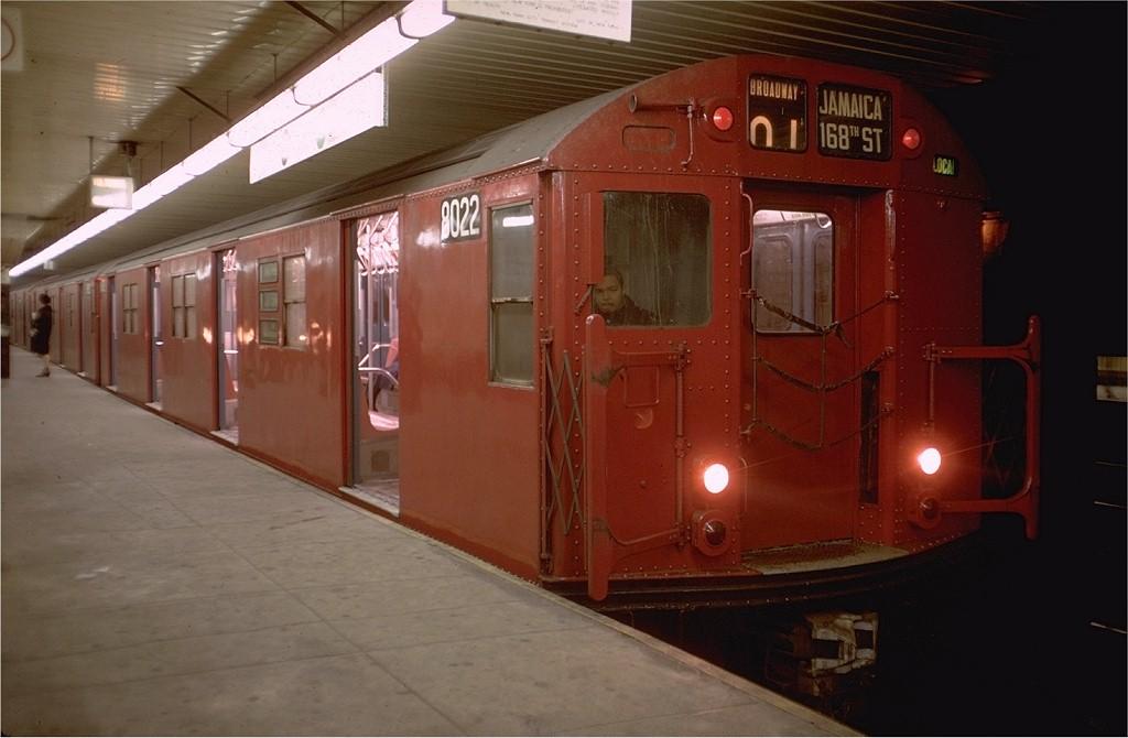 (141k, 1024x670)<br><b>Country:</b> United States<br><b>City:</b> New York<br><b>System:</b> New York City Transit<br><b>Location:</b> DeKalb Avenue<br><b>Route:</b> QJ<br><b>Car:</b> R-27 (St. Louis, 1960)  8022 <br><b>Photo by:</b> Doug Grotjahn<br><b>Collection of:</b> Joe Testagrose<br><b>Date:</b> 12/27/1968<br><b>Viewed (this week/total):</b> 1 / 3924