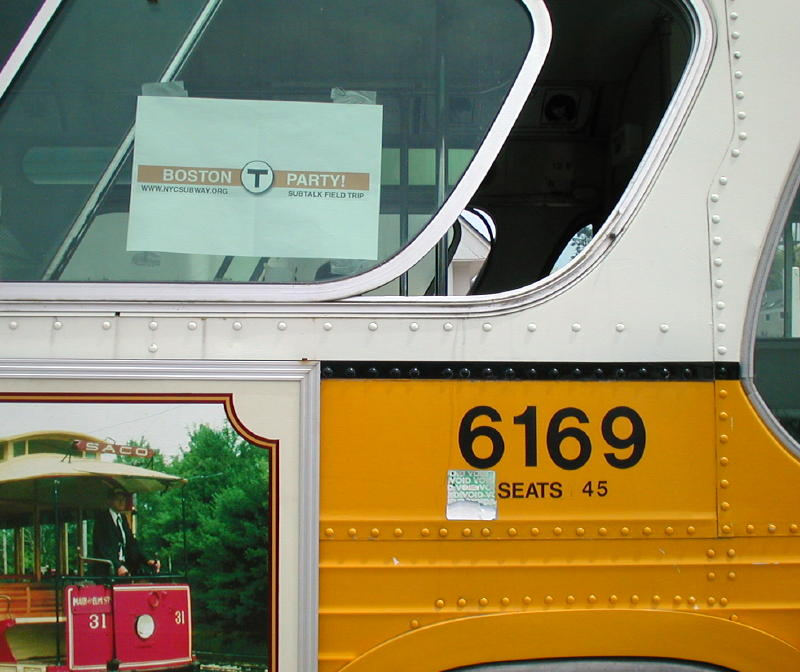 (82k, 800x672)<br><b>Country:</b> United States<br><b>City:</b> Kennebunk, ME<br><b>System:</b> Seashore Trolley Museum <br><b>Photo by:</b> Todd Glickman<br><b>Date:</b> 7/15/2000<br><b>Notes:</b> Ex-MBTA bus #6169 with its SubTalk Field Trip sign, designed by David S. Cole.  This bus was driven by Todd Glickman to pick up our guests at their motel, and to take the group to lunch in Kennebunkport.<br><b>Viewed (this week/total):</b> 1 / 4851