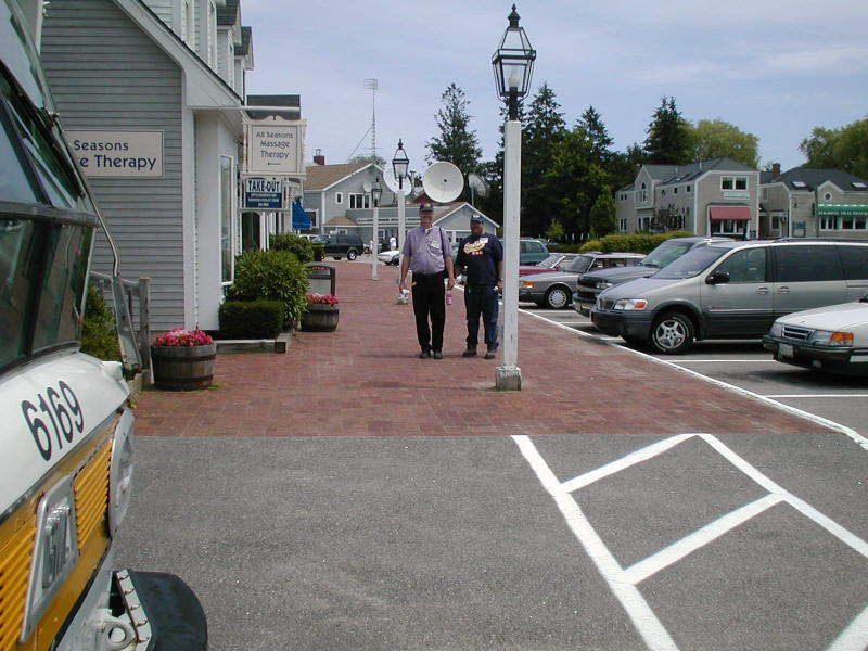 (96k, 800x600)<br><b>Country:</b> United States<br><b>City:</b> Kennebunk, ME<br><b>System:</b> Seashore Trolley Museum <br><b>Photo by:</b> Todd Glickman<br><b>Date:</b> 7/15/2000<br><b>Notes:</b> Lunch break for Doug aka BMTman and Thurston, in Kennebunkport center.<br><b>Viewed (this week/total):</b> 1 / 4264