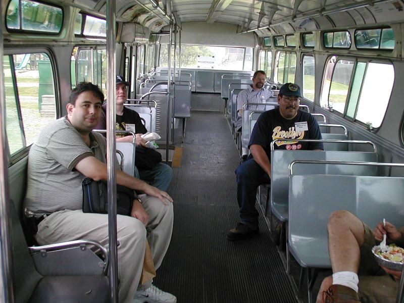 (99k, 800x600)<br><b>Country:</b> United States<br><b>City:</b> Kennebunk, ME<br><b>System:</b> Seashore Trolley Museum <br><b>Photo by:</b> Todd Glickman<br><b>Date:</b> 7/15/2000<br><b>Notes:</b> Lunch trip to Kennebunkport on ex-MBTA bus #6169: Lou from Brooklyn, David S. Cole, wsteil, Doug aka BMTman, and a luncheon salad.<br><b>Viewed (this week/total):</b> 4 / 5750