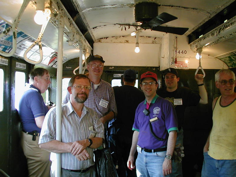 (95k, 800x600)<br><b>Country:</b> United States<br><b>City:</b> Kennebunk, ME<br><b>System:</b> Seashore Trolley Museum <br><b>Photo by:</b> Todd Glickman<br><b>Date:</b> 7/15/2000<br><b>Notes:</b> SubTalkers (beginning with second from left) wsteil, Thurston, Doug aka BMTman (facing the railfan window!) Todd Glickman, and David S. Cole.  Seashore trustee Danny Cohen is on the right.<br><b>Viewed (this week/total):</b> 1 / 4727