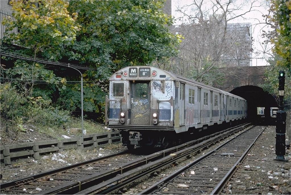 (336k, 1024x685)<br><b>Country:</b> United States<br><b>City:</b> New York<br><b>System:</b> New York City Transit<br><b>Line:</b> BMT Franklin<br><b>Location:</b> Botanic Garden <br><b>Route:</b> Franklin Shuttle<br><b>Car:</b> R-27 (St. Louis, 1960)  8055 <br><b>Photo by:</b> Steve Zabel<br><b>Collection of:</b> Joe Testagrose<br><b>Date:</b> 10/31/1981<br><b>Viewed (this week/total):</b> 0 / 4512