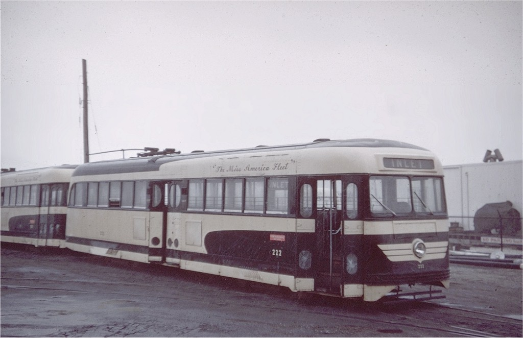 (128k, 1024x662)<br><b>Country:</b> United States<br><b>City:</b> Atlantic City, NJ<br><b>System:</b> Atlantic City Transit<br><b>Car:</b> Atlantic City Brilliner (J.G. Brill, 1940) 222 <br><b>Collection of:</b> Joe Testagrose<br><b>Date:</b> 1/1956<br><b>Viewed (this week/total):</b> 7 / 3154