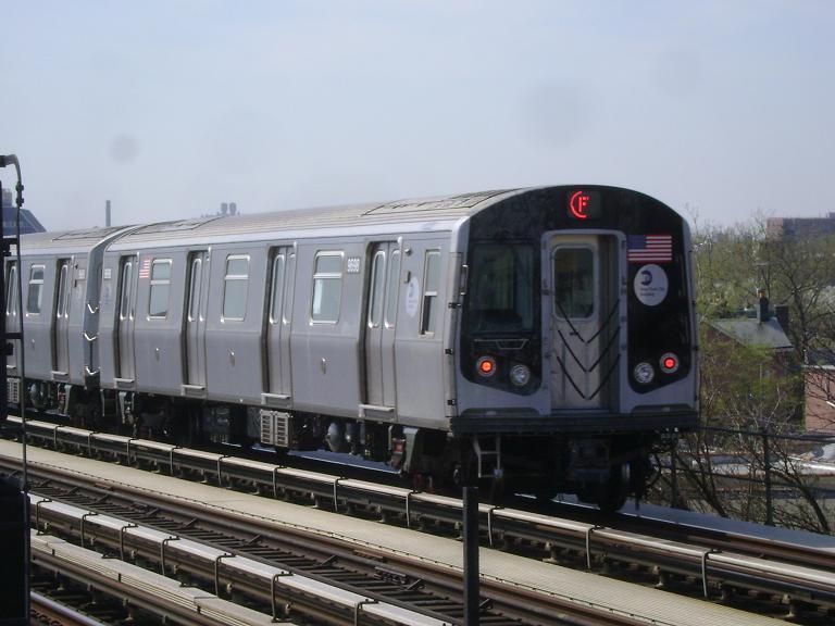 (85k, 768x576)<br><b>Country:</b> United States<br><b>City:</b> New York<br><b>System:</b> New York City Transit<br><b>Line:</b> BMT Culver Line<br><b>Location:</b> Avenue P <br><b>Route:</b> F<br><b>Car:</b> R-160A (Option 2) (Alstom, 2009, 5-car sets)  9698 <br><b>Photo by:</b> John Dooley<br><b>Date:</b> 4/8/2010<br><b>Viewed (this week/total):</b> 0 / 924