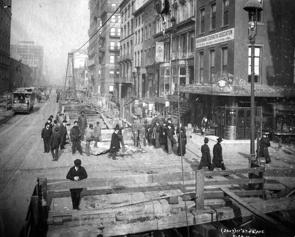 (284k, 1024x821)<br><b>Country:</b> United States<br><b>City:</b> New York<br><b>System:</b> New York City Transit<br><b>Line:</b> IRT (Early Views of Construction)<br><b>Location:</b> 4th Avenue-Manhattan<br><b>Collection of:</b> Al Schmitt<br><b>Date:</b> 11/20/1902<br><b>Notes:</b> View of 4th Avenue at 17th Street during construction of the IRT Subway<br><b>Viewed (this week/total):</b> 0 / 8934