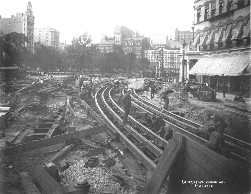 (232k, 1024x789)<br><b>Country:</b> United States<br><b>City:</b> New York<br><b>System:</b> New York City Transit<br><b>Line:</b> IRT (Early Views of Construction)<br><b>Location:</b> 4th Avenue-Manhattan<br><b>Collection of:</b> Al Schmitt<br><b>Date:</b> 8/23/1902<br><b>Notes:</b> View of Union Square at 15th Street during construction of the IRT Subway showing relocation of streetcar tracks<br><b>Viewed (this week/total):</b> 4 / 10511
