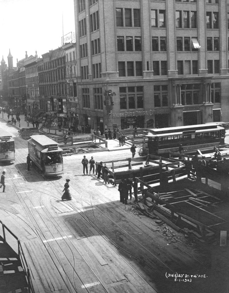 (240k, 801x1024)<br><b>Country:</b> United States<br><b>City:</b> New York<br><b>System:</b> New York City Transit<br><b>Line:</b> IRT (Early Views of Construction)<br><b>Location:</b> 4th Avenue-Manhattan<br><b>Collection of:</b> Al Schmitt<br><b>Date:</b> 5/1/1903<br><b>Notes:</b> View of 4th Avenue at 23rd Street during construction of the IRT Subway<br><b>Viewed (this week/total):</b> 4 / 9827
