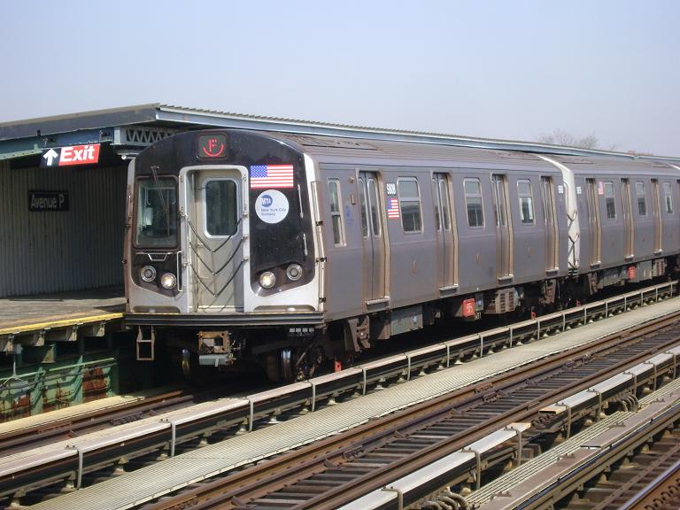 (102k, 768x576)<br><b>Country:</b> United States<br><b>City:</b> New York<br><b>System:</b> New York City Transit<br><b>Line:</b> BMT Culver Line<br><b>Location:</b> Avenue P <br><b>Route:</b> F<br><b>Car:</b> R-160B (Option 2) (Kawasaki, 2009)  9808 <br><b>Photo by:</b> John Dooley<br><b>Date:</b> 4/8/2010<br><b>Viewed (this week/total):</b> 0 / 1131