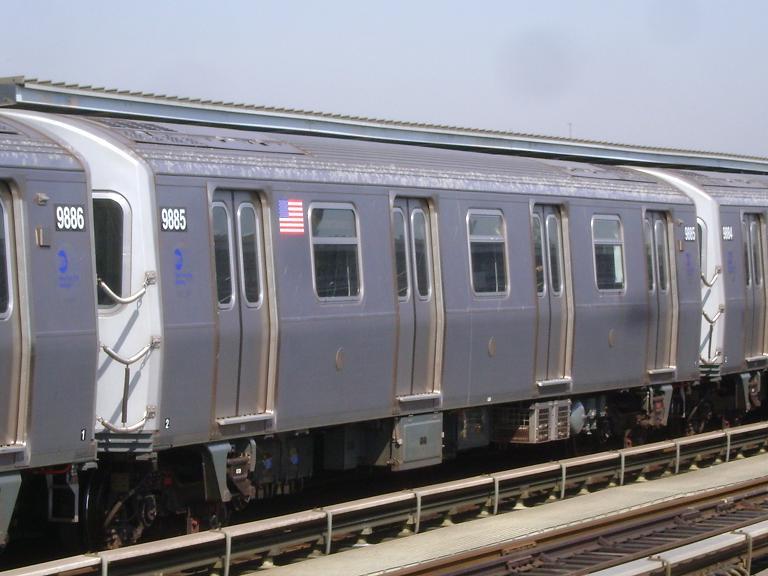 (84k, 768x576)<br><b>Country:</b> United States<br><b>City:</b> New York<br><b>System:</b> New York City Transit<br><b>Line:</b> BMT Culver Line<br><b>Location:</b> Avenue P <br><b>Route:</b> F<br><b>Car:</b> R-160B (Option 2) (Kawasaki, 2009)  9885 <br><b>Photo by:</b> John Dooley<br><b>Date:</b> 4/8/2010<br><b>Viewed (this week/total):</b> 0 / 1427