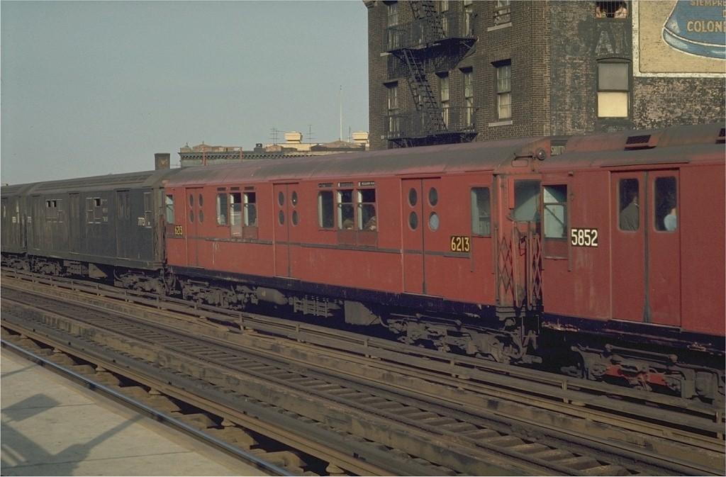(177k, 1024x673)<br><b>Country:</b> United States<br><b>City:</b> New York<br><b>System:</b> New York City Transit<br><b>Line:</b> IRT White Plains Road Line<br><b>Location:</b> Prospect Avenue <br><b>Route:</b> 2<br><b>Car:</b> R-15 (American Car & Foundry, 1950) 6213 <br><b>Photo by:</b> Joe Testagrose<br><b>Date:</b> 5/2/1970<br><b>Viewed (this week/total):</b> 1 / 2587