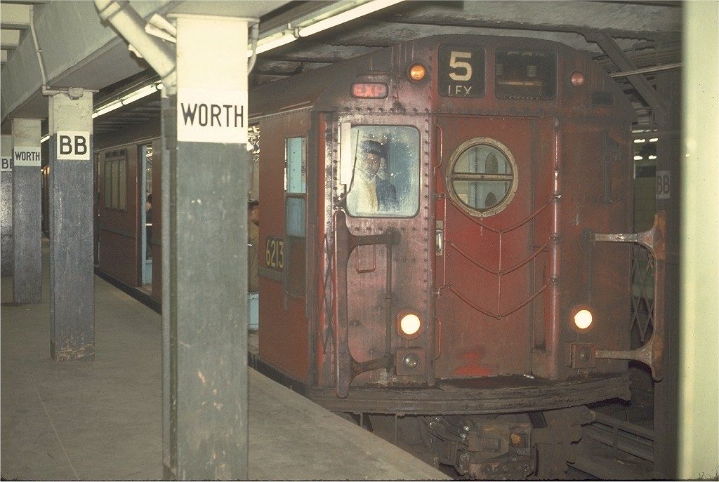 (164k, 1024x687)<br><b>Country:</b> United States<br><b>City:</b> New York<br><b>System:</b> New York City Transit<br><b>Line:</b> IRT East Side Line<br><b>Location:</b> Brooklyn Bridge/City Hall <br><b>Route:</b> 5<br><b>Car:</b> R-15 (American Car & Foundry, 1950) 6213 <br><b>Photo by:</b> Joe Testagrose<br><b>Date:</b> 3/26/1970<br><b>Viewed (this week/total):</b> 2 / 3255