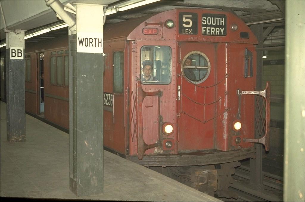 (153k, 1024x677)<br><b>Country:</b> United States<br><b>City:</b> New York<br><b>System:</b> New York City Transit<br><b>Line:</b> IRT East Side Line<br><b>Location:</b> Brooklyn Bridge/City Hall <br><b>Route:</b> 5<br><b>Car:</b> R-15 (American Car & Foundry, 1950) 6239 <br><b>Photo by:</b> Joe Testagrose<br><b>Date:</b> 3/26/1970<br><b>Viewed (this week/total):</b> 0 / 3190