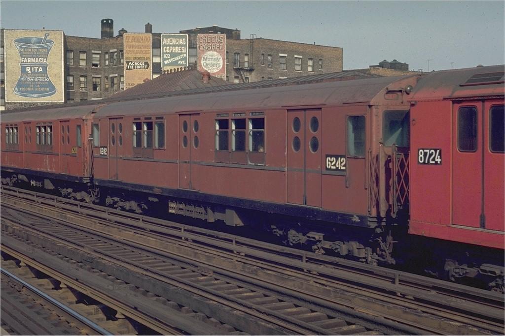 (192k, 1024x683)<br><b>Country:</b> United States<br><b>City:</b> New York<br><b>System:</b> New York City Transit<br><b>Line:</b> IRT White Plains Road Line<br><b>Location:</b> Prospect Avenue <br><b>Route:</b> 5<br><b>Car:</b> R-15 (American Car & Foundry, 1950) 6242 <br><b>Photo by:</b> Joe Testagrose<br><b>Date:</b> 5/2/1970<br><b>Viewed (this week/total):</b> 1 / 2192