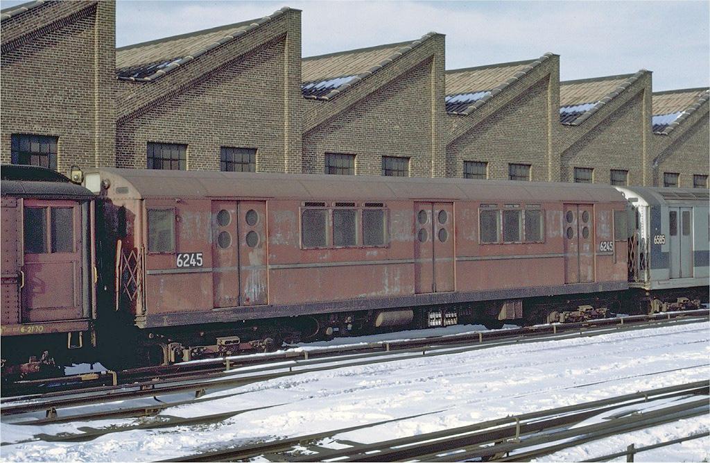 (343k, 1024x667)<br><b>Country:</b> United States<br><b>City:</b> New York<br><b>System:</b> New York City Transit<br><b>Location:</b> East 180th Street Yard<br><b>Car:</b> R-15 (American Car & Foundry, 1950) 6245 <br><b>Photo by:</b> Joe Testagrose<br><b>Date:</b> 1/2/1971<br><b>Viewed (this week/total):</b> 3 / 2923