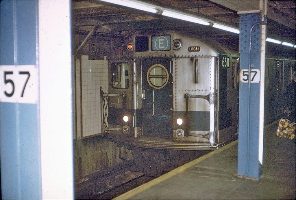 (293k, 1024x694)<br><b>Country:</b> United States<br><b>City:</b> New York<br><b>System:</b> New York City Transit<br><b>Line:</b> BMT Broadway Line<br><b>Location:</b> 57th Street <br><b>Route:</b> E<br><b>Car:</b> R-16 (American Car & Foundry, 1955) 6311 <br><b>Photo by:</b> Joe Testagrose<br><b>Date:</b> 12/4/1971<br><b>Viewed (this week/total):</b> 1 / 4155
