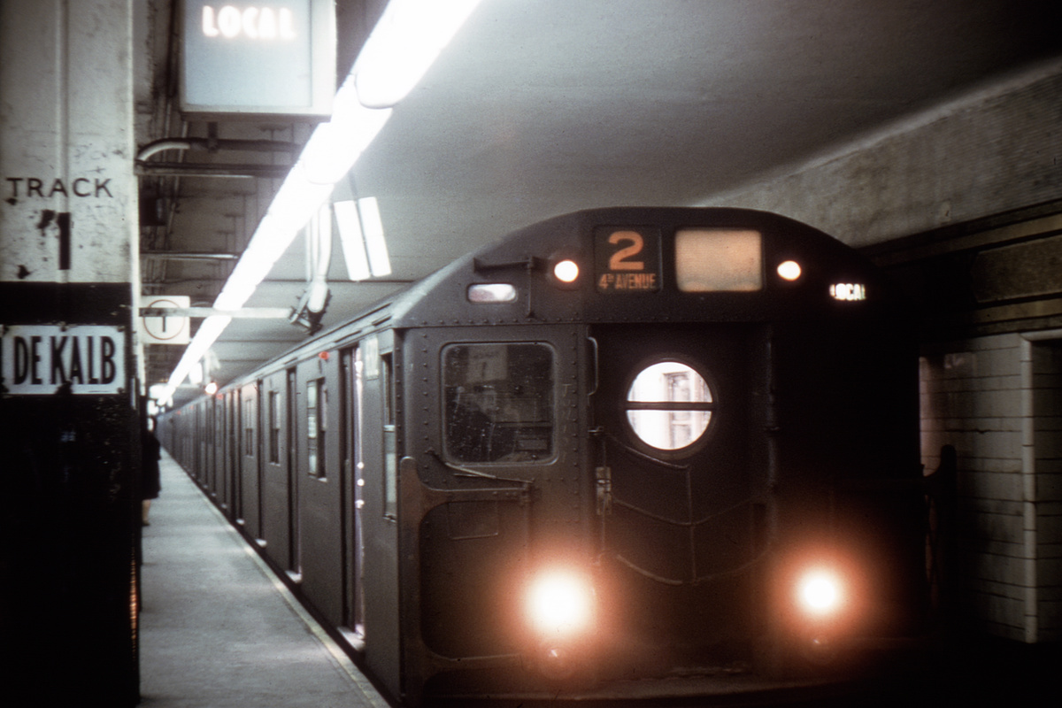 (133k, 1024x711)<br><b>Country:</b> United States<br><b>City:</b> New York<br><b>System:</b> New York City Transit<br><b>Location:</b> DeKalb Avenue<br><b>Route:</b> RR<br><b>Car:</b> R-16 (American Car & Foundry, 1955) 6312 <br><b>Photo by:</b> Doug Grotjahn<br><b>Collection of:</b> Joe Testagrose<br><b>Date:</b> 2/18/1968<br><b>Viewed (this week/total):</b> 1 / 4611