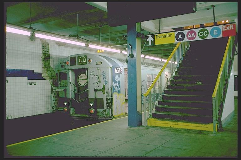 (116k, 768x512)<br><b>Country:</b> United States<br><b>City:</b> New York<br><b>System:</b> New York City Transit<br><b>Line:</b> BMT Canarsie Line<br><b>Location:</b> 8th Avenue <br><b>Route:</b> LL<br><b>Car:</b> R-16 (American Car & Foundry, 1955) 6348 <br><b>Photo by:</b> Joe Testagrose<br><b>Date:</b> 10/31/1976<br><b>Viewed (this week/total):</b> 4 / 6677