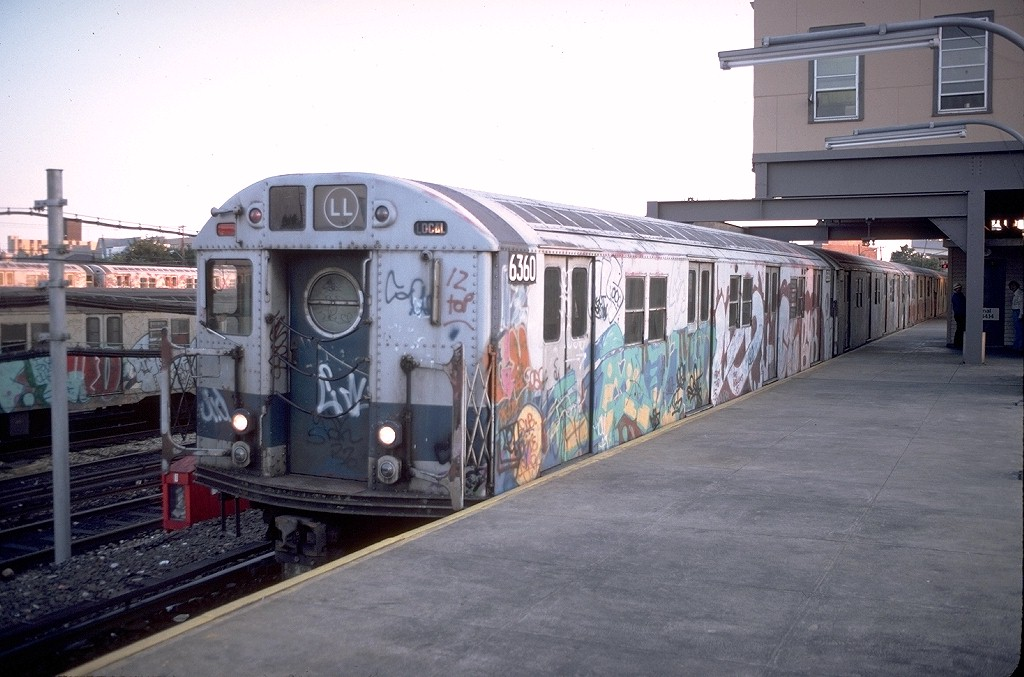 (179k, 1024x677)<br><b>Country:</b> United States<br><b>City:</b> New York<br><b>System:</b> New York City Transit<br><b>Line:</b> BMT Canarsie Line<br><b>Location:</b> Rockaway Parkway <br><b>Route:</b> LL<br><b>Car:</b> R-16 (American Car & Foundry, 1955) 6360 <br><b>Photo by:</b> Doug Grotjahn<br><b>Collection of:</b> Joe Testagrose<br><b>Date:</b> 9/12/1979<br><b>Viewed (this week/total):</b> 0 / 10195