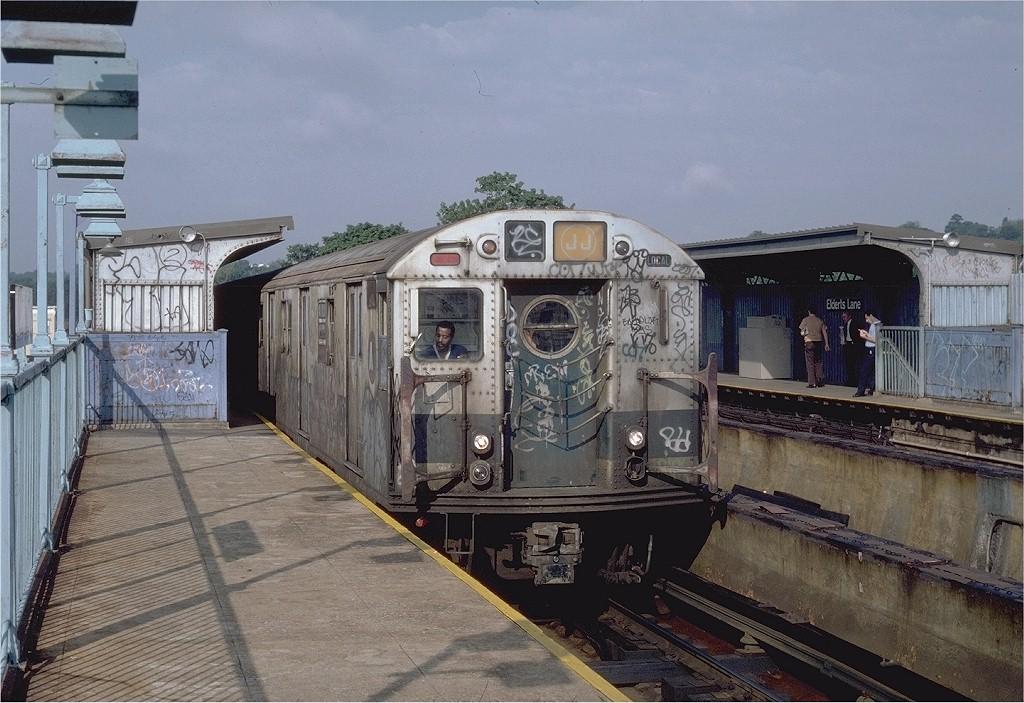 (218k, 1024x703)<br><b>Country:</b> United States<br><b>City:</b> New York<br><b>System:</b> New York City Transit<br><b>Line:</b> BMT Nassau Street/Jamaica Line<br><b>Location:</b> 75th Street/Elderts Lane <br><b>Route:</b> J<br><b>Car:</b> R-16 (American Car & Foundry, 1955) 6361 <br><b>Photo by:</b> Steve Zabel<br><b>Collection of:</b> Joe Testagrose<br><b>Date:</b> 9/3/1982<br><b>Viewed (this week/total):</b> 4 / 6796