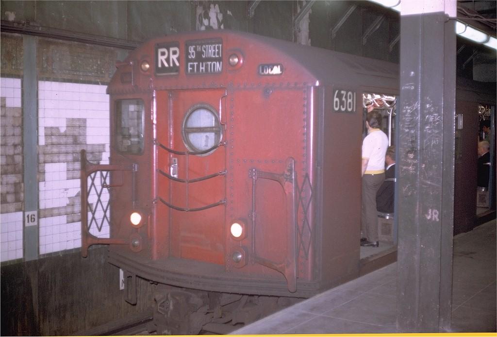 (159k, 1024x694)<br><b>Country:</b> United States<br><b>City:</b> New York<br><b>System:</b> New York City Transit<br><b>Line:</b> BMT Broadway Line<br><b>Location:</b> Times Square/42nd Street <br><b>Route:</b> RR<br><b>Car:</b> R-16 (American Car & Foundry, 1955) 6381 <br><b>Photo by:</b> Doug Grotjahn<br><b>Collection of:</b> Joe Testagrose<br><b>Date:</b> 7/16/1969<br><b>Viewed (this week/total):</b> 4 / 3713