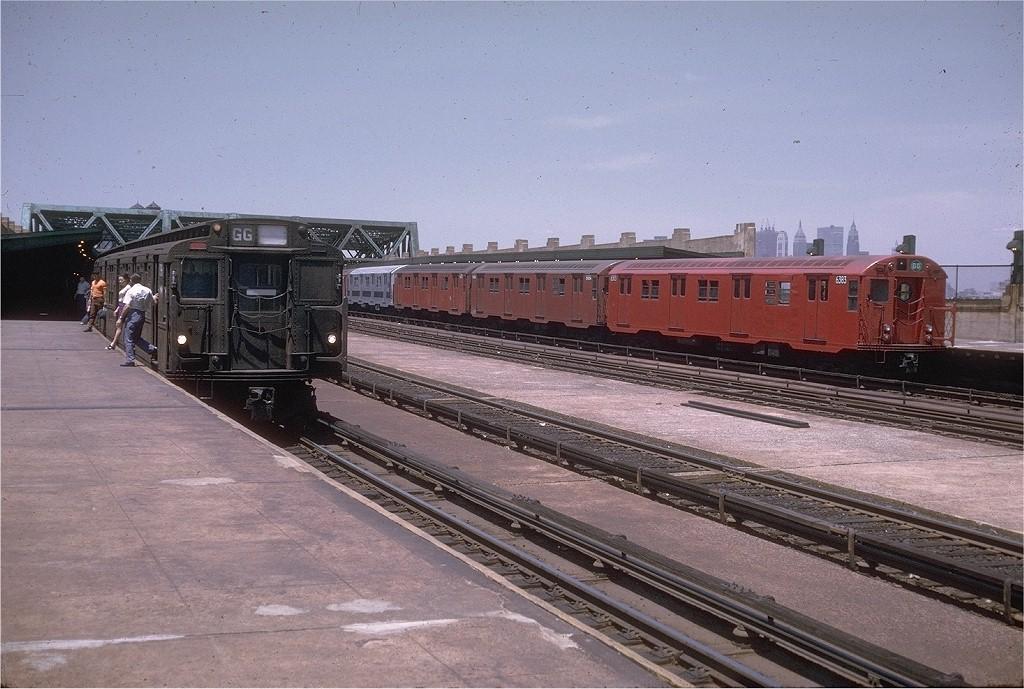 (212k, 1024x689)<br><b>Country:</b> United States<br><b>City:</b> New York<br><b>System:</b> New York City Transit<br><b>Line:</b> IND Crosstown Line<br><b>Location:</b> Smith/9th Street <br><b>Route:</b> GG<br><b>Car:</b> R-16 (American Car & Foundry, 1955) 6383 <br><b>Photo by:</b> Joe Testagrose<br><b>Date:</b> 6/13/1970<br><b>Notes:</b> With R6 1341<br><b>Viewed (this week/total):</b> 2 / 3807