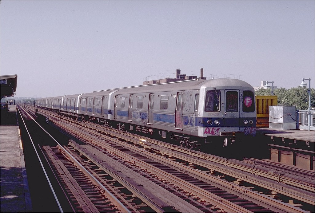 (218k, 1024x693)<br><b>Country:</b> United States<br><b>City:</b> New York<br><b>System:</b> New York City Transit<br><b>Line:</b> BMT Culver Line<br><b>Location:</b> Avenue P <br><b>Route:</b> F<br><b>Car:</b> R-46 (Pullman-Standard, 1974-75) 628 <br><b>Photo by:</b> Joe Testagrose<br><b>Date:</b> 7/4/1980<br><b>Viewed (this week/total):</b> 0 / 4245
