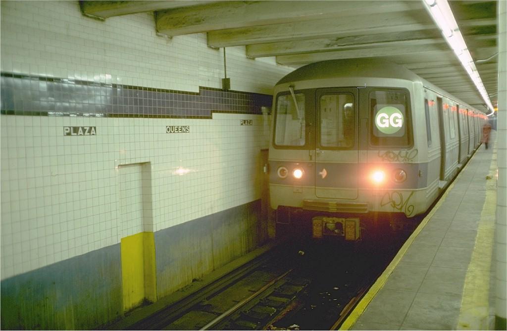 (151k, 1024x670)<br><b>Country:</b> United States<br><b>City:</b> New York<br><b>System:</b> New York City Transit<br><b>Line:</b> IND Queens Boulevard Line<br><b>Location:</b> Queens Plaza <br><b>Route:</b> GG<br><b>Car:</b> R-46 (Pullman-Standard, 1974-75) 634 <br><b>Photo by:</b> Ed McKernan<br><b>Collection of:</b> Joe Testagrose<br><b>Date:</b> 12/5/1976<br><b>Viewed (this week/total):</b> 0 / 6733