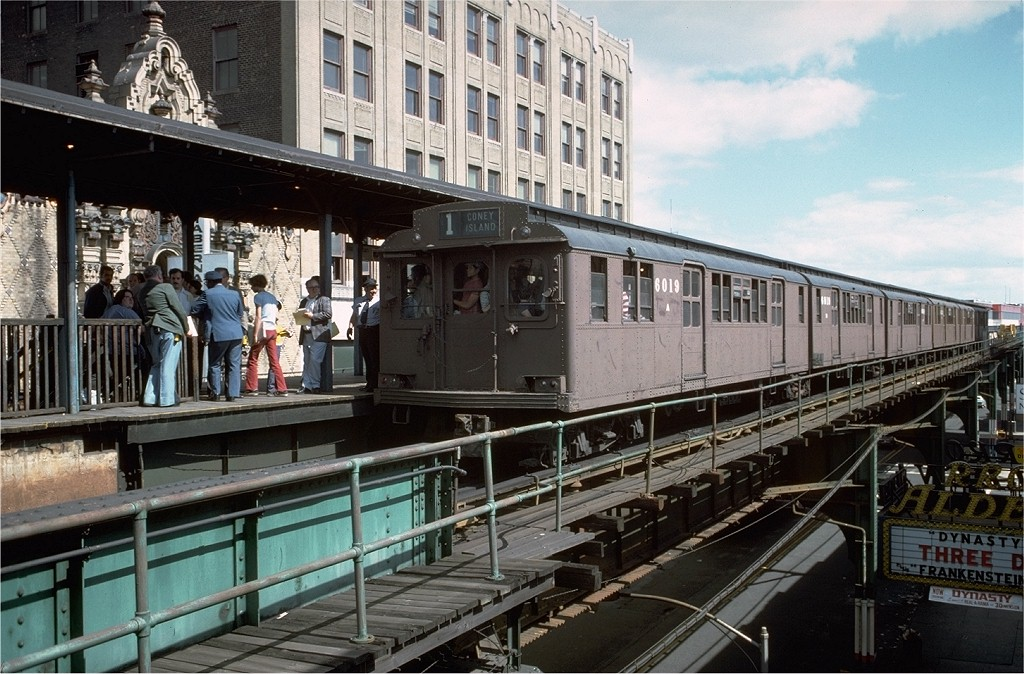 (228k, 1024x674)<br><b>Country:</b> United States<br><b>City:</b> New York<br><b>System:</b> New York City Transit<br><b>Line:</b> BMT Nassau Street/Jamaica Line<br><b>Location:</b> 168th Street (Demolished) <br><b>Route:</b> Fan Trip<br><b>Car:</b> BMT D-Type Triplex 6019 <br><b>Photo by:</b> Doug Grotjahn<br><b>Collection of:</b> Joe Testagrose<br><b>Date:</b> 9/11/1977<br><b>Viewed (this week/total):</b> 4 / 7392
