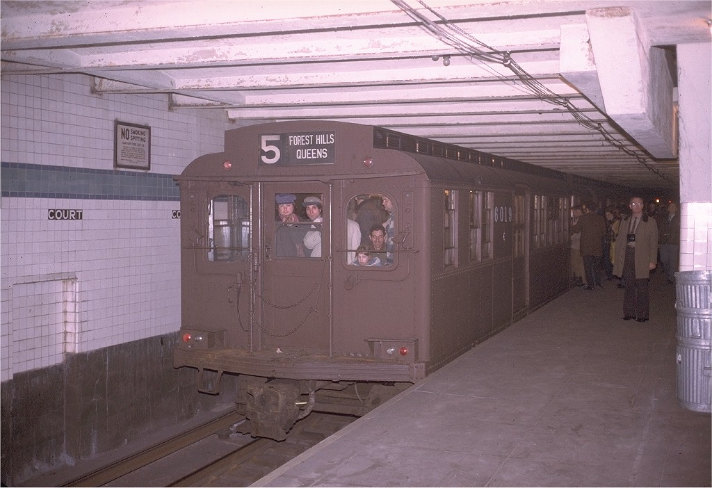 (191k, 1024x702)<br><b>Country:</b> United States<br><b>City:</b> New York<br><b>System:</b> New York City Transit<br><b>Location:</b> Court Street (Future Transit Museum)<br><b>Route:</b> Fan Trip<br><b>Car:</b> BMT D-Type Triplex 6019 <br><b>Photo by:</b> Steve Zabel<br><b>Collection of:</b> Joe Testagrose<br><b>Date:</b> 3/23/1974<br><b>Viewed (this week/total):</b> 9 / 15640