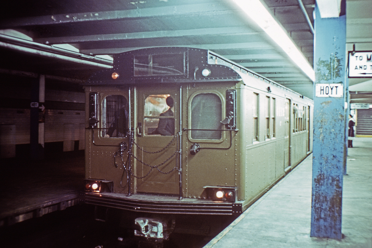 (295k, 1024x683)<br><b>Country:</b> United States<br><b>City:</b> New York<br><b>System:</b> New York City Transit<br><b>Line:</b> IND Fulton Street Line<br><b>Location:</b> Hoyt-Schermerhorn Street <br><b>Route:</b> Fan Trip<br><b>Car:</b> BMT D-Type Triplex 6112 <br><b>Photo by:</b> Doug Grotjahn<br><b>Collection of:</b> David Pirmann<br><b>Date:</b> 12/5/1976<br><b>Viewed (this week/total):</b> 3 / 4914