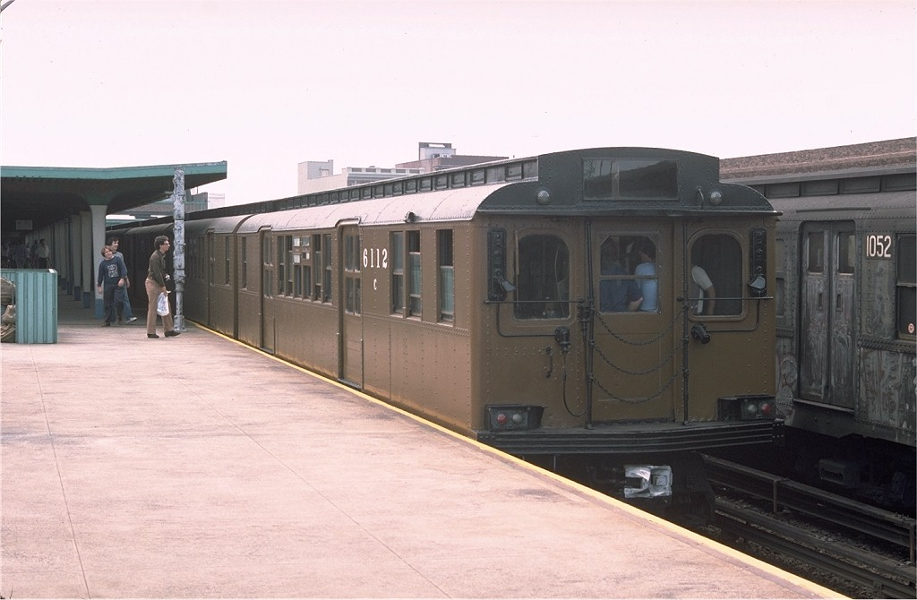 (139k, 1024x670)<br><b>Country:</b> United States<br><b>City:</b> New York<br><b>System:</b> New York City Transit<br><b>Line:</b> IND Rockaway<br><b>Location:</b> Rockaway Park/Beach 116th Street <br><b>Route:</b> Fan Trip<br><b>Car:</b> BMT D-Type Triplex 6112 <br><b>Photo by:</b> Doug Grotjahn<br><b>Collection of:</b> Joe Testagrose<br><b>Date:</b> 7/31/1976<br><b>Viewed (this week/total):</b> 1 / 2988