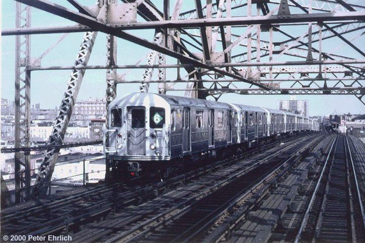 (159k, 720x479)<br><b>Country:</b> United States<br><b>City:</b> New York<br><b>System:</b> New York City Transit<br><b>Line:</b> IRT Pelham Line<br><b>Location:</b> Bronx River Bridge <br><b>Route:</b> 6<br><b>Car:</b> R-62A (Bombardier, 1984-1987)  1850 <br><b>Photo by:</b> Peter Ehrlich<br><b>Date:</b> 3/30/1988<br><b>Viewed (this week/total):</b> 4 / 5954