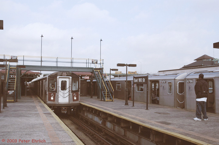 (101k, 720x478)<br><b>Country:</b> United States<br><b>City:</b> New York<br><b>System:</b> New York City Transit<br><b>Line:</b> IRT White Plains Road Line<br><b>Location:</b> East 180th Street <br><b>Car:</b> R-142 (Primary Order, Bombardier, 1999-2002)  6605 <br><b>Photo by:</b> Peter Ehrlich<br><b>Date:</b> 3/5/2003<br><b>Viewed (this week/total):</b> 3 / 5346