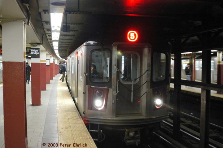 (109k, 720x478)<br><b>Country:</b> United States<br><b>City:</b> New York<br><b>System:</b> New York City Transit<br><b>Line:</b> IRT East Side Line<br><b>Location:</b> Brooklyn Bridge/City Hall <br><b>Route:</b> 5<br><b>Car:</b> R-142 (Primary Order, Bombardier, 1999-2002)  6716 <br><b>Photo by:</b> Peter Ehrlich<br><b>Date:</b> 3/4/2003<br><b>Viewed (this week/total):</b> 1 / 10399